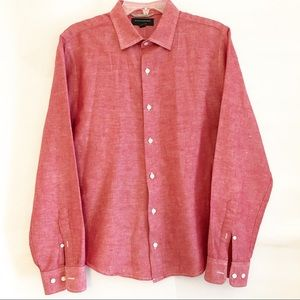 BANANA REPUBLIC-Men's Red Wash button Down Sz Med.